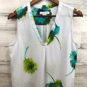 Liz Claiborne  White Floral Blouse [507b4]